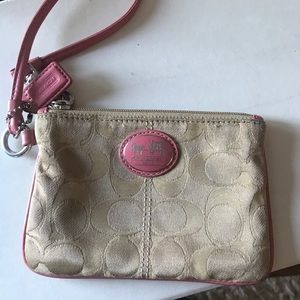 Coach — Small Wristlet with Pink Leather Accents